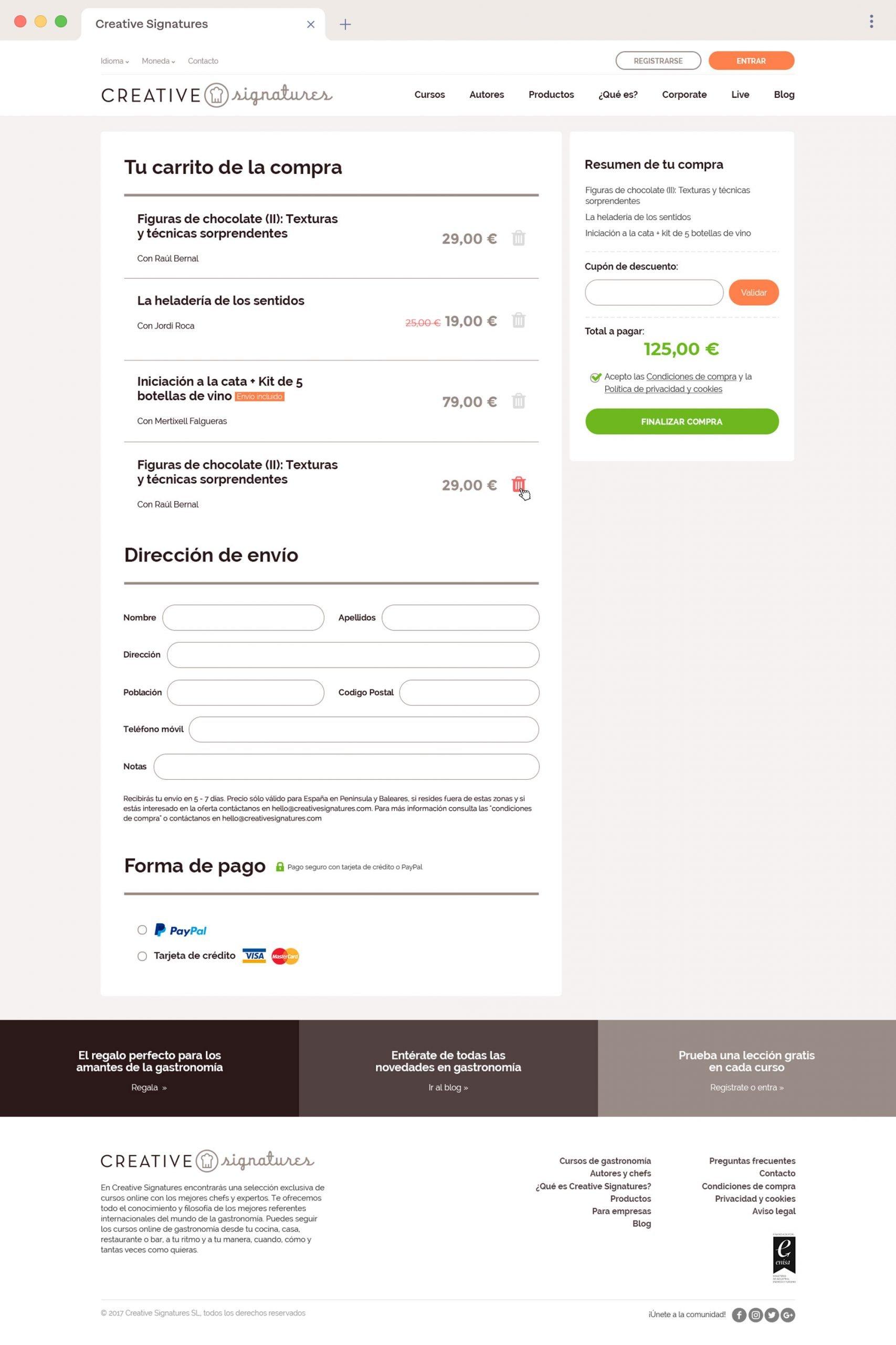 Disseny UI de la pàgina de checkout