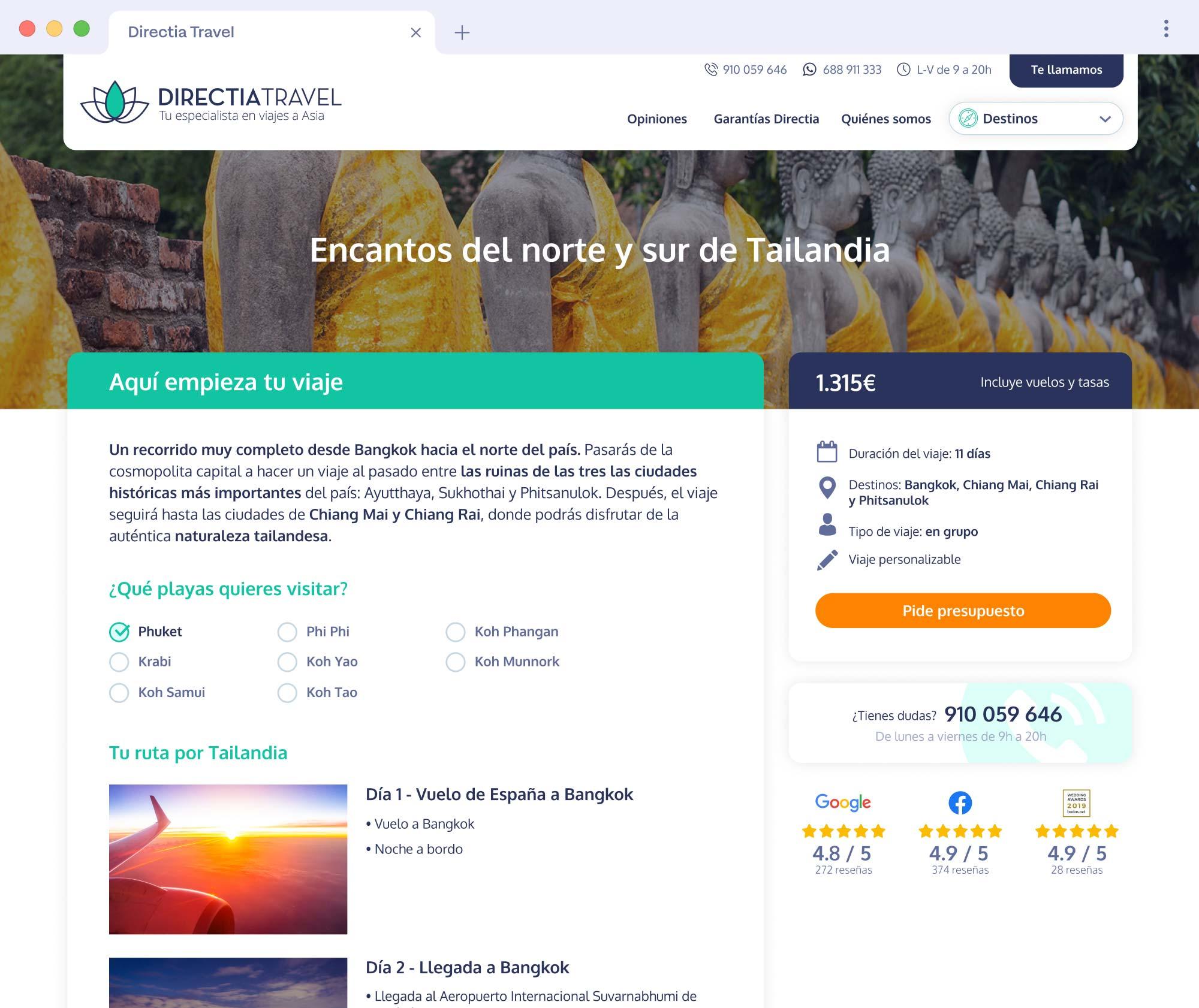 Disseny web per Directia Travel